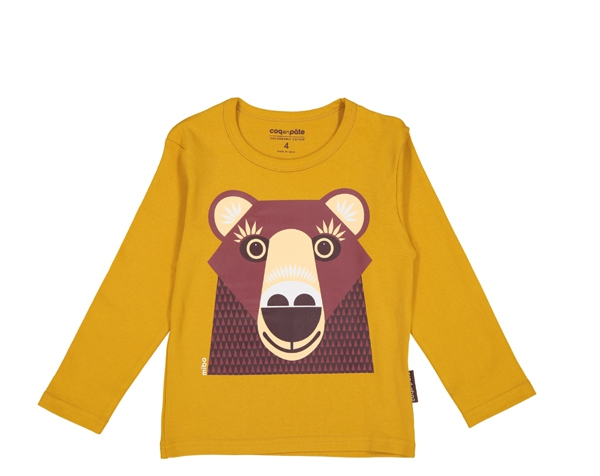 Bear brown mustard T-Shirt ML T-2 de Coq en Pâte