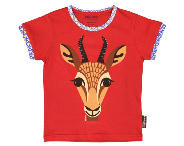 Gazelle red T-Shirt T-6 de Coq en Pâte
