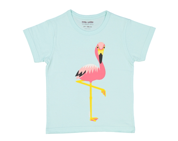 Flamingo Light Blue T-Shirt T-2 de Coq en Pâte