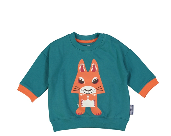 Squirrel teal blue Sweat Shirt  9-12 m. de Coq en Pâte