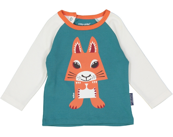 Squirrel teal blue Raglan long Sleeves tshirt 3-6 m.  de Coq en Pâte