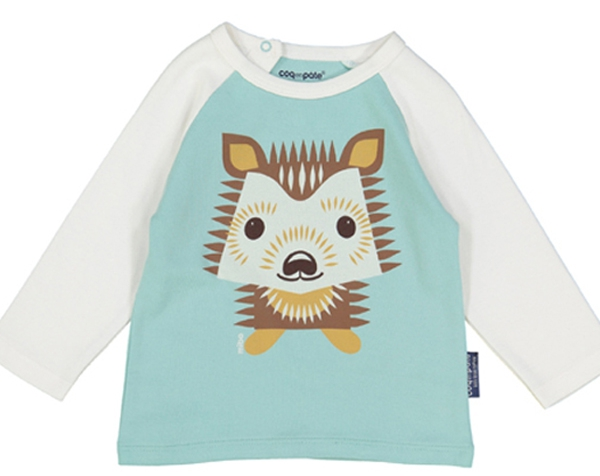 Hedgehog pastel blue Raglan long Sleeves tshirt 9-12 m. de Coq en Pâte