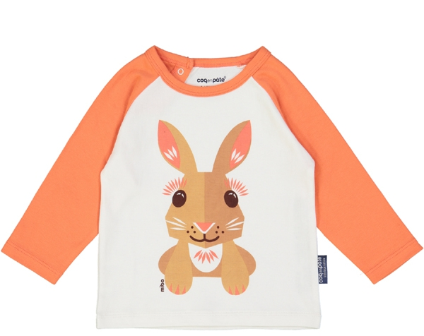 Rabbit Pink cream Raglan long Sleeves tshirt 4 Y. de Coq en Pâte