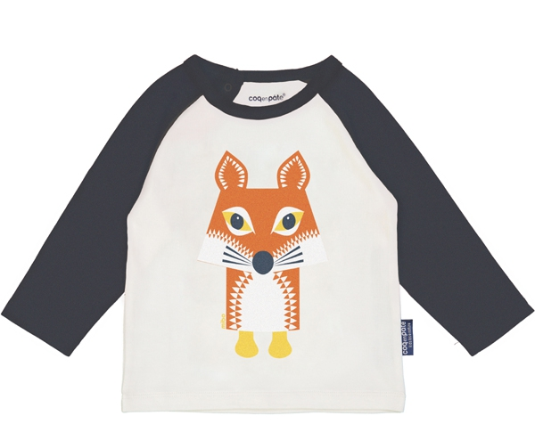 Fox Slaten Grey Raglan long Sleeves tshirt 9-12 m. de Coq en Pâte