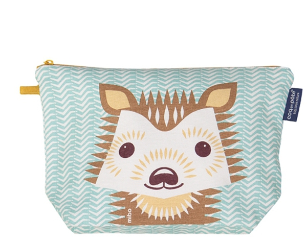 Hedgehog pastel blue Large Toiletry Pouch de Coq en Pâte