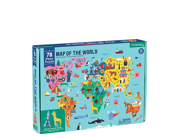 78 PC Geography Puzzle/Map of the World de Mudpuppy