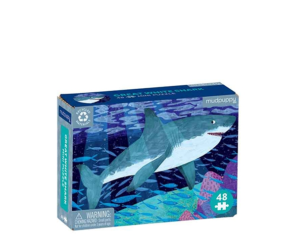 Mini Puzzle (Ocean life) White Shark 48 pc de Mudpuppy